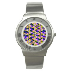 Crazy Zig Zags Blue Yellow Stainless Steel Watch by Alisyart