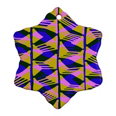 Crazy Zig Zags Blue Yellow Snowflake Ornament (two Sides) by Alisyart