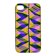 Crazy Zig Zags Blue Yellow Apple Iphone 4/4s Hardshell Case With Stand by Alisyart