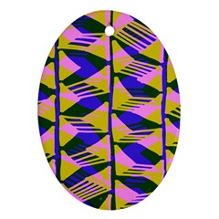 Crazy Zig Zags Blue Yellow Oval Ornament (two Sides) by Alisyart