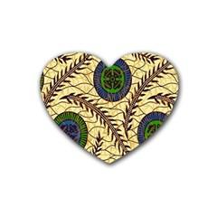 Fabrick Batik Brown Blue Green Leaf Flower Floral Heart Coaster (4 Pack)  by Alisyart