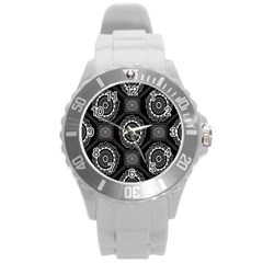 Circle Plaid Black Floral Round Plastic Sport Watch (l) by Alisyart