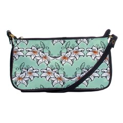 Flower Floral Lilly White Blue Shoulder Clutch Bags by Alisyart