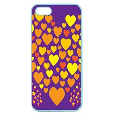 Heart Love Valentine Purple Orange Yellow Star Apple Seamless Iphone 5 Case (color) by Alisyart