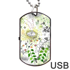 Flower Flowar Sunflower Rose Leaf Green Yellow Picture Dog Tag Usb Flash (one Side) by Alisyart