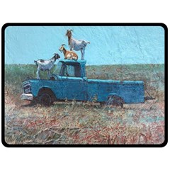 Goats On A Pickup Truck Double Sided Fleece Blanket (large)  by theunrulyartist