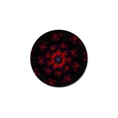 Fractal Abstract Blossom Bloom Red Golf Ball Marker by Amaryn4rt
