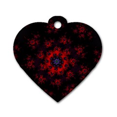 Fractal Abstract Blossom Bloom Red Dog Tag Heart (two Sides) by Amaryn4rt