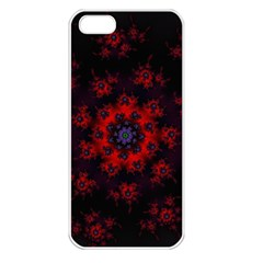 Fractal Abstract Blossom Bloom Red Apple Iphone 5 Seamless Case (white) by Amaryn4rt