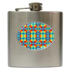 Pop Art Abstract Design Pattern Hip Flask (6 Oz) by Amaryn4rt