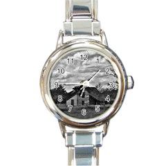 Farm House In Black And White ! Round Italian Charm Watch by CreatedByMeVictoriaB