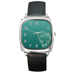 Leaf Green Blue Branch  Texture Thread Square Metal Watch by Alisyart