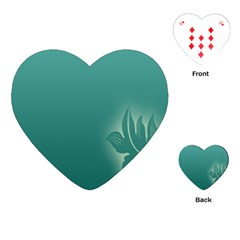 Leaf Green Blue Branch  Texture Thread Playing Cards (heart)  by Alisyart
