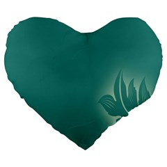 Leaf Green Blue Branch  Texture Thread Large 19  Premium Flano Heart Shape Cushions by Alisyart