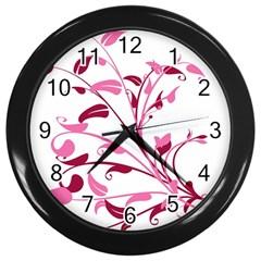 Leaf Pink Floral Wall Clocks (black) by Alisyart