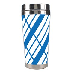 Line Blue Chevron Stainless Steel Travel Tumblers by Alisyart