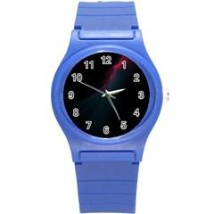 Lines Dark Sky Space Blue Round Plastic Sport Watch (s) by Alisyart
