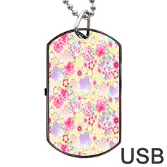 Flower Arrangements Season Floral Pink Purple Star Rose Dog Tag Usb Flash (two Sides) by Alisyart