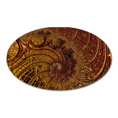 Copper Caramel Swirls Abstract Art Oval Magnet by Amaryn4rt