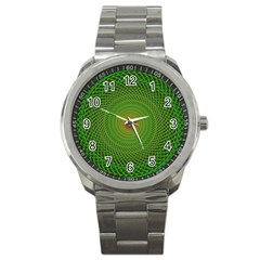 Green Fractal Simple Wire String Sport Metal Watch by Amaryn4rt