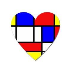 Mondrian Red Blue Yellow Heart Magnet by Amaryn4rt