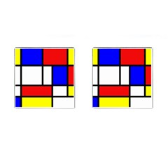 Mondrian Red Blue Yellow Cufflinks (square)