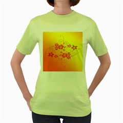 Flowers Floral Design Flora Yellow Women s Green T Shirt