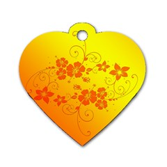 Flowers Floral Design Flora Yellow Dog Tag Heart (one Side) by Amaryn4rt