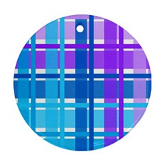 Gingham Pattern Blue Purple Shades Round Ornament (two Sides) by Amaryn4rt