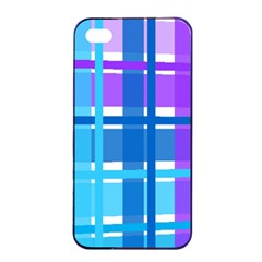 Gingham Pattern Blue Purple Shades Apple Iphone 4/4s Seamless Case (black) by Amaryn4rt