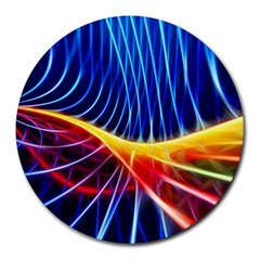 Color Colorful Wave Abstract Round Mousepads by Amaryn4rt