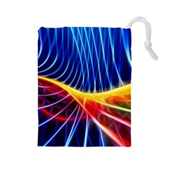 Color Colorful Wave Abstract Drawstring Pouches (large)  by Amaryn4rt