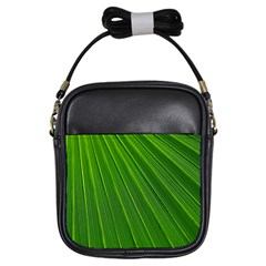 Green Lines Macro Pattern Girls Sling Bags by Amaryn4rt