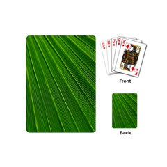 Green Lines Macro Pattern Playing Cards (mini)  by Amaryn4rt