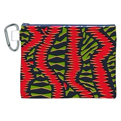 African Fabric Red Green Canvas Cosmetic Bag (xxl) by Alisyart