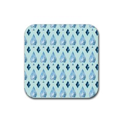 Ace Hibiscus Blue Diamond Plaid Triangle Rubber Square Coaster (4 Pack)  by Alisyart