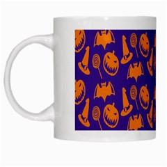Witch Hat Pumpkin Candy Helloween Purple Orange White Mugs by Alisyart