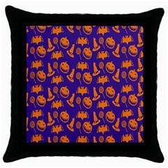 Witch Hat Pumpkin Candy Helloween Purple Orange Throw Pillow Case (black) by Alisyart