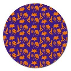 Witch Hat Pumpkin Candy Helloween Purple Orange Magnet 5  (round) by Alisyart