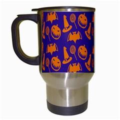 Witch Hat Pumpkin Candy Helloween Purple Orange Travel Mugs (white) by Alisyart