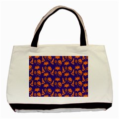 Witch Hat Pumpkin Candy Helloween Purple Orange Basic Tote Bag (two Sides) by Alisyart