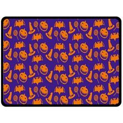 Witch Hat Pumpkin Candy Helloween Purple Orange Double Sided Fleece Blanket (large)  by Alisyart