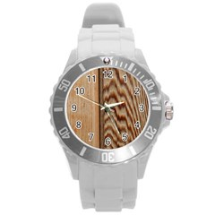 Wood Grain Texture Brown Round Plastic Sport Watch (l)
