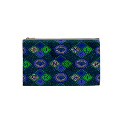 African Fabric Number Alphabeth Diamond Cosmetic Bag (small)  by Alisyart