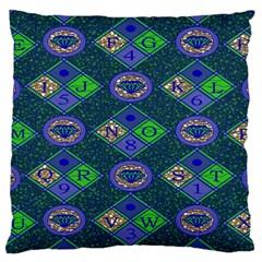 African Fabric Number Alphabeth Diamond Large Cushion Case (one Side) by Alisyart