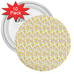 Branch Spring Texture Leaf Fruit Yellow 3  Buttons (10 Pack)  by Alisyart
