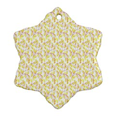 Branch Spring Texture Leaf Fruit Yellow Snowflake Ornament (two Sides) by Alisyart