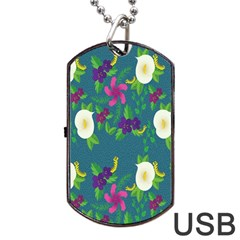 Caterpillar Flower Floral Leaf Rose White Purple Green Yellow Animals Dog Tag Usb Flash (two Sides) by Alisyart