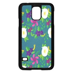 Caterpillar Flower Floral Leaf Rose White Purple Green Yellow Animals Samsung Galaxy S5 Case (black) by Alisyart
