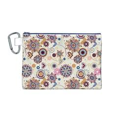 Flower Arrangements Season Floral Purple Love Heart Canvas Cosmetic Bag (M) by Alisyart